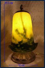 Art Nouveau Veilleuse Pâte de Verre Jaune et Bleue Intacte et Fontionne No Copy