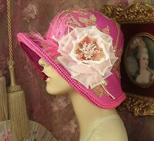 1920'S VINTAGE STYLE OMBRE PINK FEATHER SEQUIN ROSE FLOWER CLOCHE FLAPPER HAT