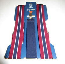 Nwt Mens Wembley Burgandy Navy White Clip Suspenders Small - XL