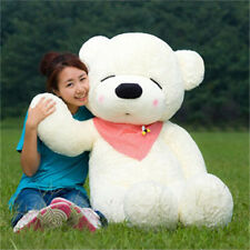 Giant Large huge Teddy Bear doll White Squinting Birthday scarf Gift Toy 80cm