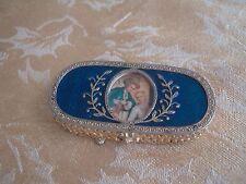 VINTAGE ESTEE LAUDER GOLD TONE METAL COBALT BLUE ENAMEL PERFUME BOX PORTRAIT