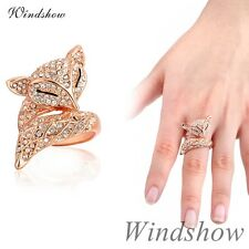 Lady Womens 18K Rose Gold GF Fox Cluster Crystal Finger Ring Fashion Jewellery