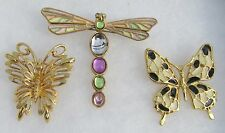 Vintage Estate Lot Of 3  2 Butterfly & 1 Dragonfly Pin Brooch 1 Signed Monet