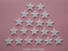 20 X EDIBLE HOLOGRAM WHITE GLITTER STARS. CAKE DECORATIONS - SMALL 2cm
