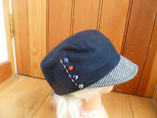 MONSOON ACCESSORIZE NAVY WOOL RICH BUTTON MILITARY BAKER BOY PEAKED HAT CAP