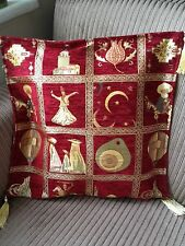 "Turkish High Quality Ottoman Style Chenille Cushion Pillow Cover 17"" x 17"" RED"