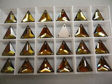 8 swarovski 3-hole triangle sew on flatback buttons,16mm tabac/foiled #3270