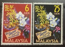 Singapore Malaysia stamps - 1963 World Orchid Conference 2v set MNH flowers