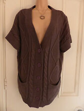 Gorgeous medium/thick knit grey short sleeved cardigan Ann Harvey size 18