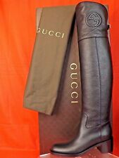 NIB GUCCI SOHO BLACK PEBBLED LEATHER INTERLOCKING LOGO OVER THE KNEE BOOTS 38 8