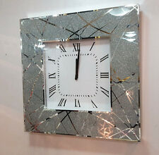 Modern Shimmer Glitter Lines Mirror Glass Square Wall Clock 50cm Silver 222