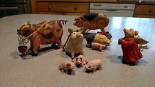 Lot Of 8 Pig Themed  Ornaments.Variety.Country