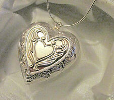 "925 Sterling Silver Heart in Heart Photo Locket Pendant 18"" Snake Chain Necklace"