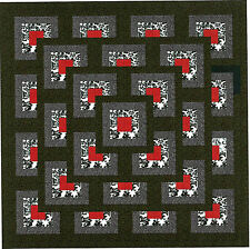 Quilt Kit/Red/black/white/Lots of Boxes/Pre-cut Fabrics Ready To Sew/EXP ****