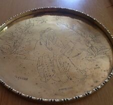 Vintage Brass Tray, Round, Etched Engraved CHINESE/ORIENTAL FIgures 19th/ 20th C