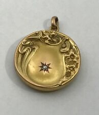 Art Nouveau Antique Wedding Locket Belle Epoque Victorian 10kt with Diamond