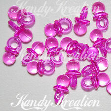 25 Hot Pink Pacifier Charms for Kandi Kid Pony Bead Baby Shower Game Party Favor