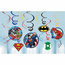12 Justice League DC Comics Superhero Party Dangling Cutout Swirl Decorations