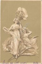 Cartolina - Illustrata - Donnina - Liberty  - in rilievo - 1900 circa
