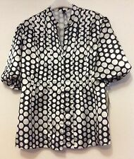 Ladies LAPIS black & white polka dot silky blouse / Top Size XL New with tags