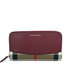 Burberry House Check Leather Zip Around Wallet - Mahogany Red