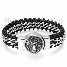 "10"" Mens Black Genuine Braided Leather Stainless Steel Lion Head Bracelet*18MM"