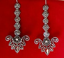 Turn-of-the Century 3 1/2-Inch  Cut-Steel Earrings With Sterling Silver Wires