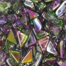 50pcs Czech Pressed Glass Tango Bead 2-Hole - Triangle - Magic Orchid 6mm (46)