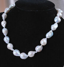 Charming!Real13-18mm South Baroque White Akoya Pearl Necklace 18""