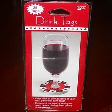100 CUSTOMIZED WINE GLASS DRINK TAG NAME LABEL COCKTAIL PARTY CARDS POKER CASINO