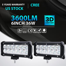 "6""inch 36W CREE LED Work Light Bar Flood Beam Driving 4WD Offroad Truck Jeep 7"""