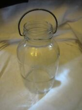 Antique Vintage Duraglas Clear Jar Bottle with Metal Wire Handle Half Gallon