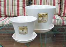 "SET OF 2 CERAMIC WHITE 8"" AND 5"" PLANTERS WITH SAUCER FLOWER POTS SQUARE MOTIF"