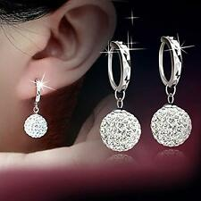 Women 925 Sterling Silver Crystal Rhinestone Ear stud Earrings Hoop Earrings B1
