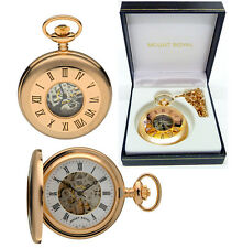 Mount Royal Half Hunter Pocket Watch 17 Jewel Rose Gold Plate Free Engraving B45