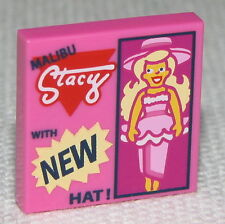 Lego New Dark Pink Tile 2 x 2 with Doll and MALIBU Stacy WITH NEW HAT!