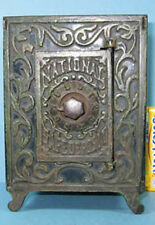 "AUTHENTIC & OLD CAST IRON TOY NATIONAL SAFE DEPOSIT 5 7/8"" HI CI486"