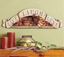 2' WOODEN LIVE LAUGH LOVE SCROLLED SENTIMENT BANNER WALL ART DECOR PLAQUE