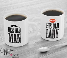 SET OF 2 MUGS HER OLD MAN HIS OLD LADY PERSONALISED COFFEE MUG TEA CUP COUPLES