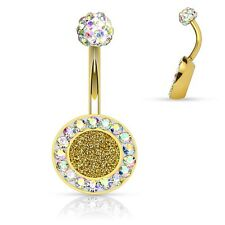 Belly Button Ring Crystal Paved Round 316L Surgical Steel Navel 14g