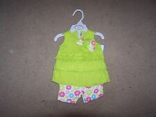 Cutie Pie Baby Girls Green Floral Printed 2-pc Set Size 3-6 Months NWT