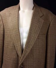 EXC Mens LANDS END Tartan Plaid Tweed Silk Blend Blazer Sportcoat Size 44L Long