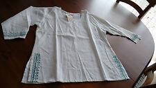 Sehr aparter Kameez, indische Bluse, weiß, türkisgrüne Stickerei, Gr. XL Damen