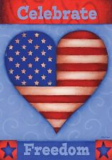 """Celebrate Freedom Patriotic Garden Flag Heart 4th of July 12.5"""" x18"""""""