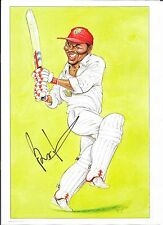 BRIAN LARA HAND SIGNED CARICATURE ON GLOSS PAPER ~ WEST INDIES CRICKET GREAT