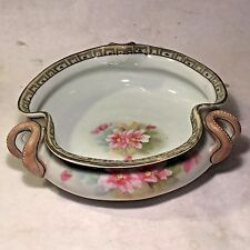 Vtg NIPPON Hand Painted 3 Handle Pinched Bowl w Rising Sun Mark Floral Pattern