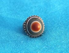 ANTIQUE 1000 YEAR OLD NATURAL TIBETAN DZI EYE BEAD RING SIZE 9.5 SILVER GIFT