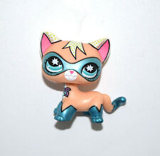 Littlest Pet Shop Comic Super Hero Blue Mask Short Hair Siamese Cat Figure Toy