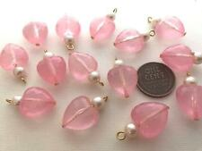 Vintage 14 x 23mm Faceted Pink Plastic Heart Drop Beads Charms Pearl 14