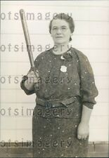 1937 Woman Constable Mary Suffell With Billy Club & Badge Press Photo